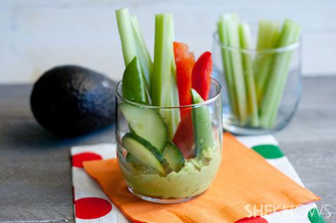 LUNCHBOX veggie cups with green goddess dip or use guacamole.