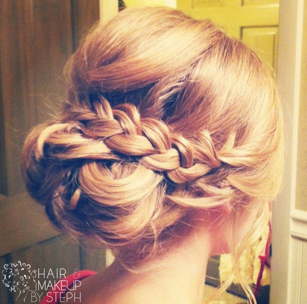 Love this braided upstyle for the bride. Hair, Makeup and Photo by: Hair and Makeup by Steph