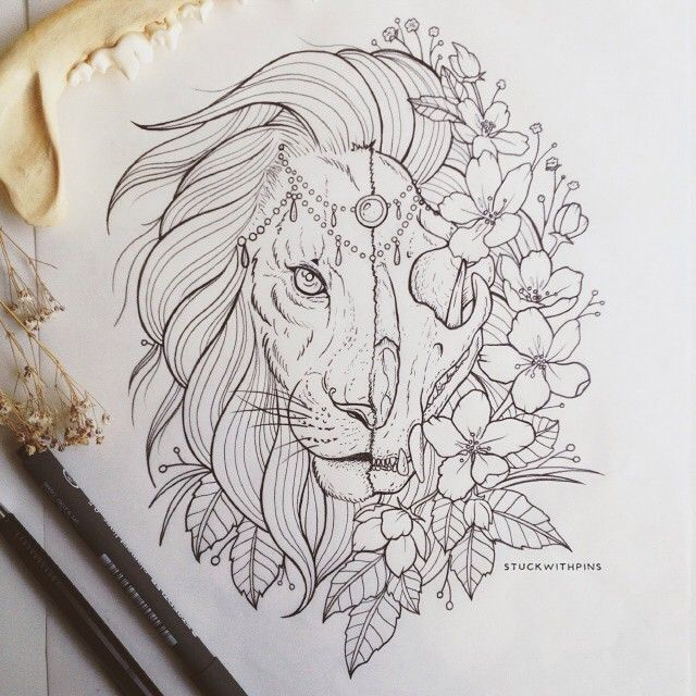 lion skull tattoo by Corinne Alexandra