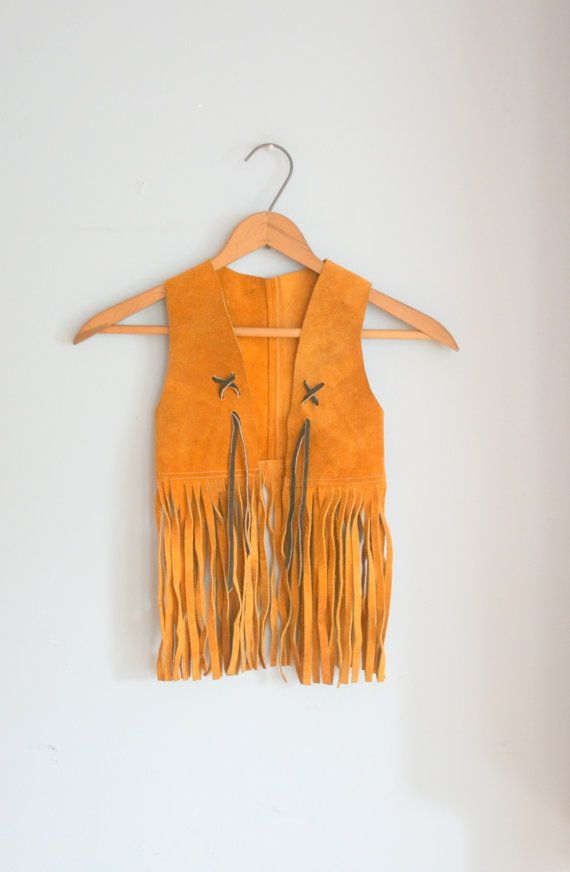 toddler fringe vest | 1970s HIPPIE LEATHER FRINGE Kids Vest ...size 4 5 6 kids.....hippie ...