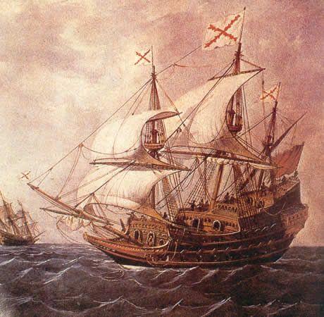 Galeón español del siglo XVII (Por Rafael Monleón, 1885, Museo Naval, Madrid)