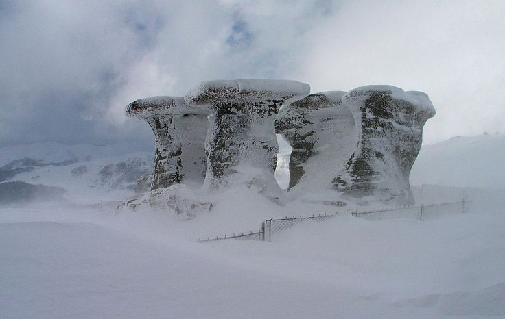 Have you seen the frozen Sphinx on our boards? Check out the Babele formations in the Bucegi Mountains, Romania