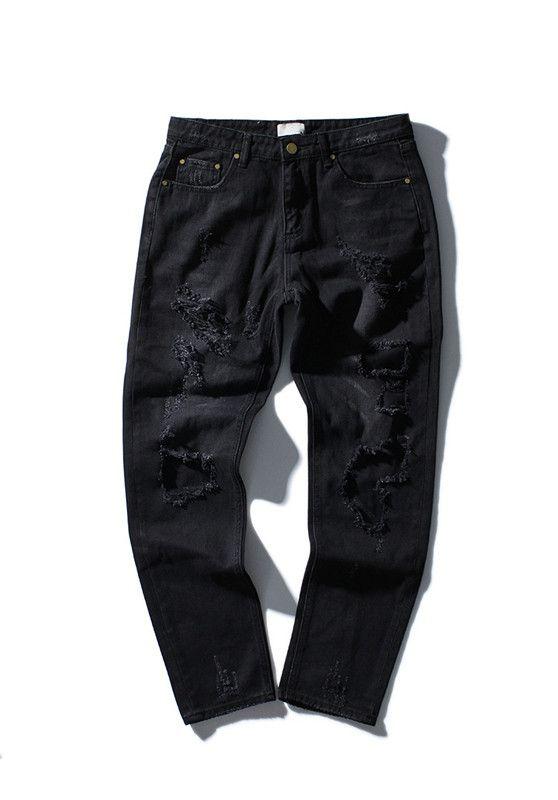 Tide brand off white winter new men 's wear mill wear striped Rose embroidery Denim pants men jeans jogger pants high quality