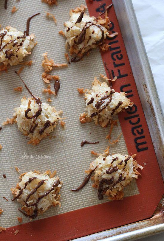 Chocolate Drizzled Coconut Macaroons   Skinnytaste
