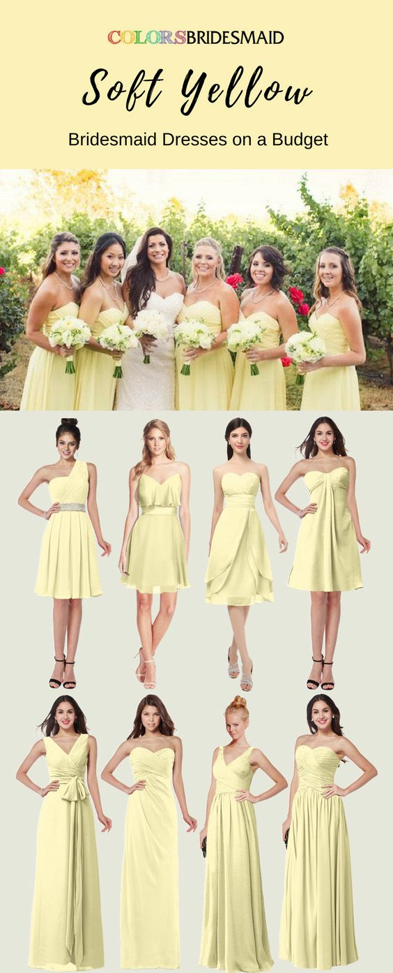 ... bridesmaid dresses in soft yellow color (a yellow color shade) are  great for a summer or fall wedding. The styles of v-neck 91e94662e041