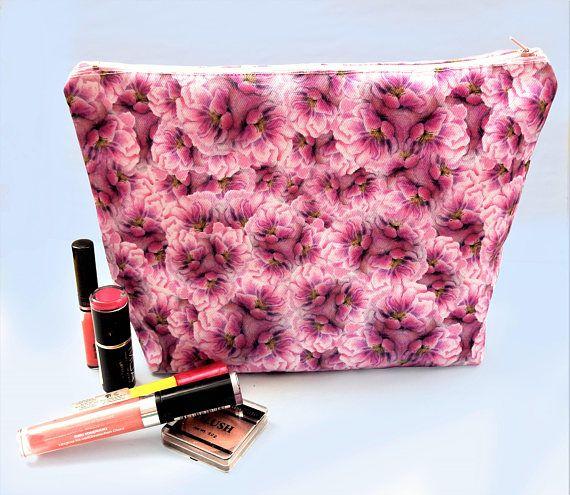 Floral cosmetics bag  large makeup bag  floral print makeup