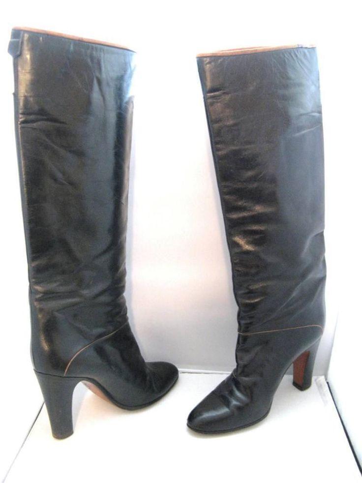 Bally Black Brown Piping Detail Knee High Heel Womens -5275