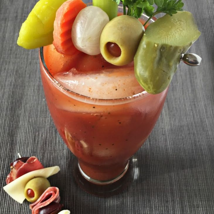 {the best} Bloody Mary Recipe Beverages with ice, vodka, Zing Zang Bloody Mary Mix, celery, veggies, pepper, dill pickles, olives