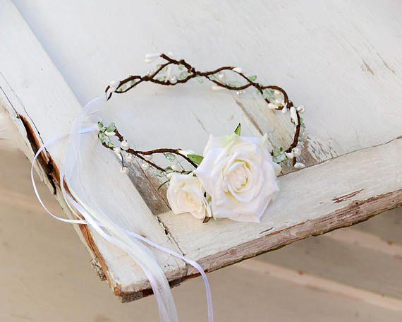 Flower crown White rose crown Wedding flower crown Bridal