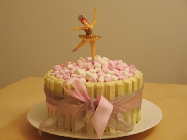 White KitKat Ballerina Birthday Cake!