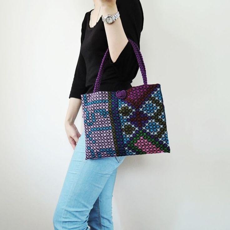 Tribal Women Handbag Hmong Tribes Embroidery Bag Handmade Cross Stitch Purses S #Unbranded #HandBag