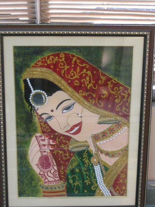 Indian Bride Meenakari Painting Using Stone And Glass
