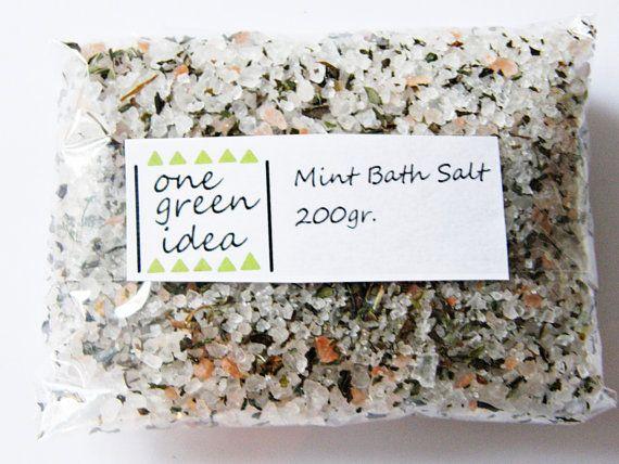 Mint Bath Salt  Refreshing Organic Rose Salt Sea by OneGreenIdea, €4.00