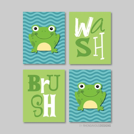 Frog Wash Brush Print Quad  Baby. Decor Kid by RhondavousDesigns2, $30.00