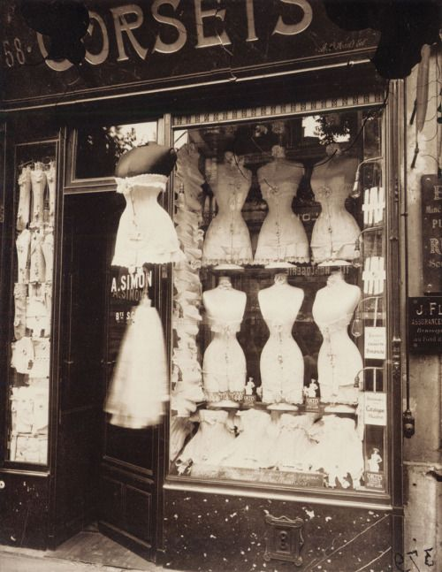 Eugène Atget  Boulevard de Strasbourg, Corsets, 1912  Printing‐out paper, 8 3/4 x 7 inches