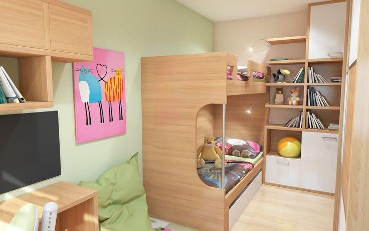 Dětský pokoj s využitím každého volného prostoru