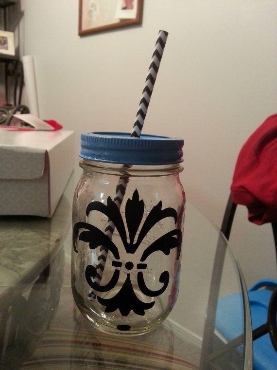 Mason Jar Tumbler Monogram or Custom by BlushDesignsX3 on Etsy