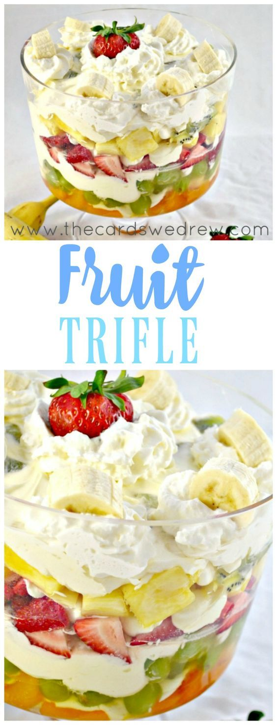 Need an easy Brunch or Shower recipe? This Banana Cheesecake Fruit Trifle is as pretty as it is delicious and will be a perfect party recipe for any occasion!