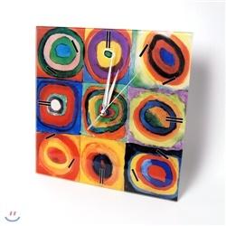 [동심원이 있는 정사각형 - 칸딘스키]를 배경으로 사용한 시계