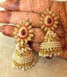 Buy Marvelous Rani Pink Gold Plated Bandani Jhumka Earrings jhumka online