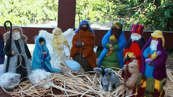 Needle Felted Nativity Scene #nativity #felt #needle