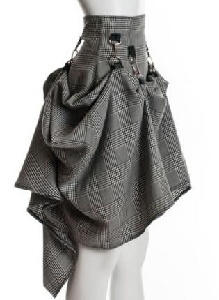 Gray Black Steam Punk Skirt,  Skirt, skirt  steampunk  victorian  party plaid bustle, Chic