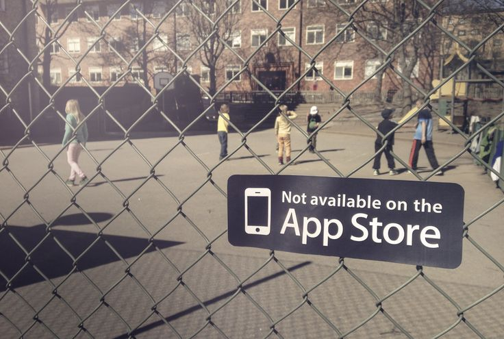 """Three Hyper Island students dreamed up the idea of making """"Not Available on the App Store"""" stickers as a friendly reminder to get kids away from the screen and into the real world. USA, Caio Andrade, Rafael Ochoa and Linn Livijn Wexell, 2014"""