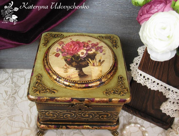 (1 of 2) Decoupage Box by Kateryna Udovychenko   *The next 16 pins are all Kateryna's work, also! Beautiful! A.  //  ♡ THIS IS GORGEOUS! I LOVE HER USE OF OTHER CRAFTING MEDIUMS, AND ESPECIALLY THE ADDITION OF THE FRAME ON TOP AND THE FEET! AND THE FACT THAT SHE NOT ONLY COMPLETES THE INSIDE,  BUT THE BACK AS WELL? NOW  THAT'S THE SIGN OF A TRUE CRAFTER!!!  ♥A
