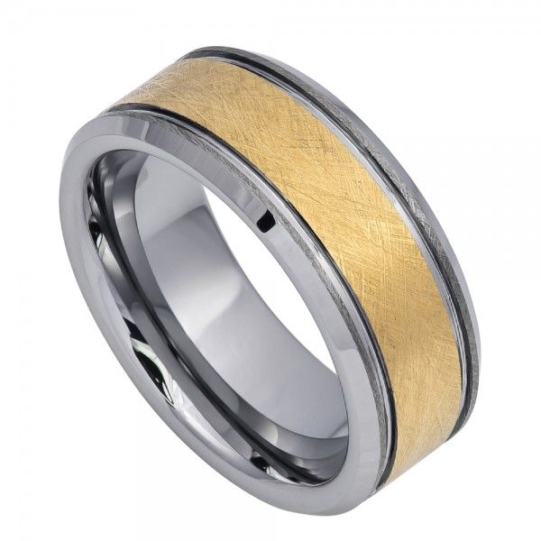 mens tungsten carbide wedding band with brushed yellow gold finish - Grooms Wedding Ring