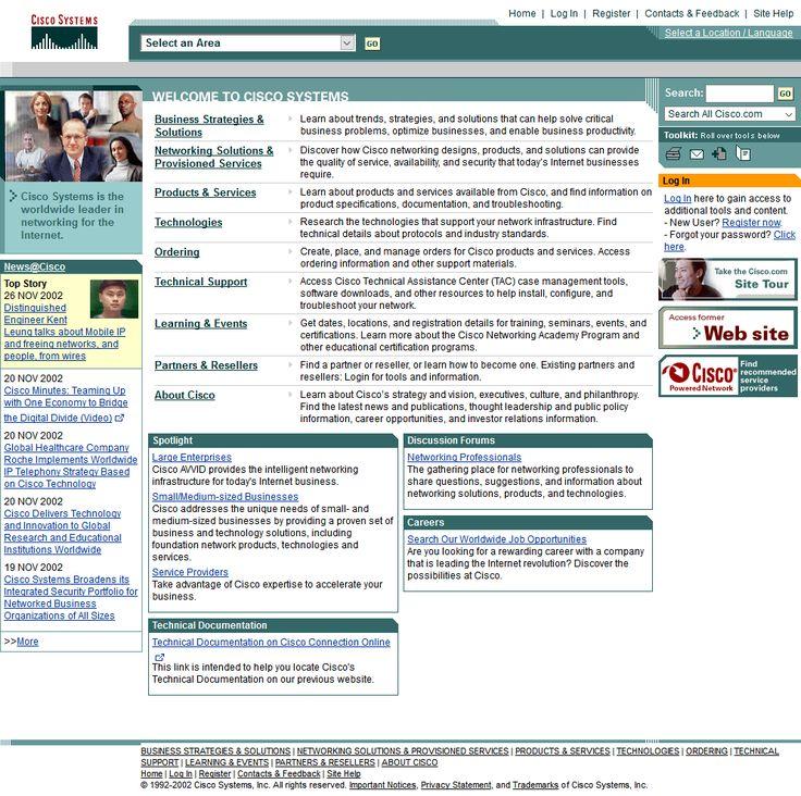 Cisco website in 2002