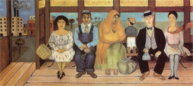 "The Bus, 1929 by Frida Kahlo - Sitting in a row on a bench in a rickety bus are representatives from different levels of Mexican society. Frida, like Rivera, demonstrated her sympathy for the dispossessed. Her heroine is clearly the Madonna-like, barefoot Indian mother suckling her baby. Nor is there any question as to the villain: he is the blue-eyed gringo who, like Rivera's fat capitalist in his ""Night of the Rich"" panel at the Ministry of Education, holds a moneybag loaded with coins."