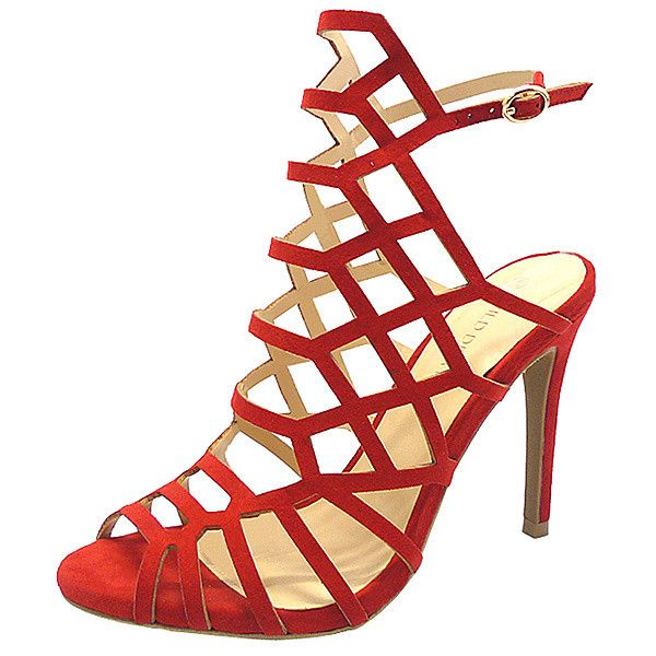 Wild Diva Red BERLIN Sandal ($9.99) ❤ liked on Polyvore featuring shoes, sandals, strappy high heel shoes, red strappy shoes, high heel sandals, red sandals and red strappy sandals