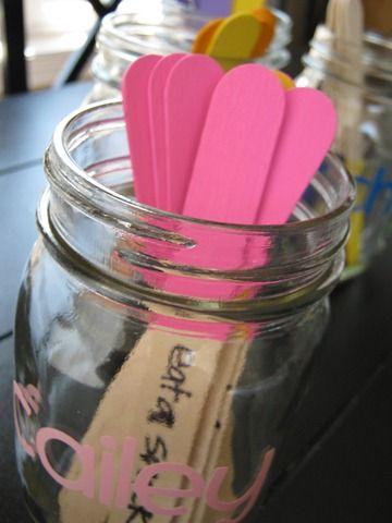 Chore jar and sticksCrafts Ideas, Kids Chore, Chore Sticks, Cute Ideas, Kids Ideas, Chore Jars, Cool Ideas, Future Kids, Chore Charts