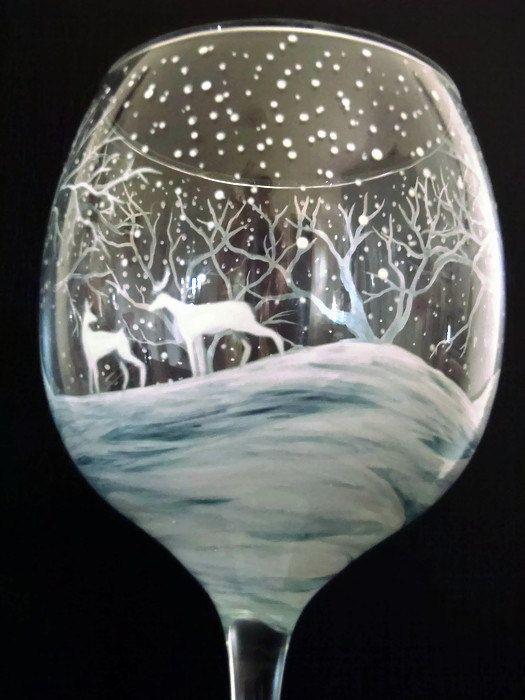 Winter Wonderland Wine Glass Hand Painted by LKCustomCreations