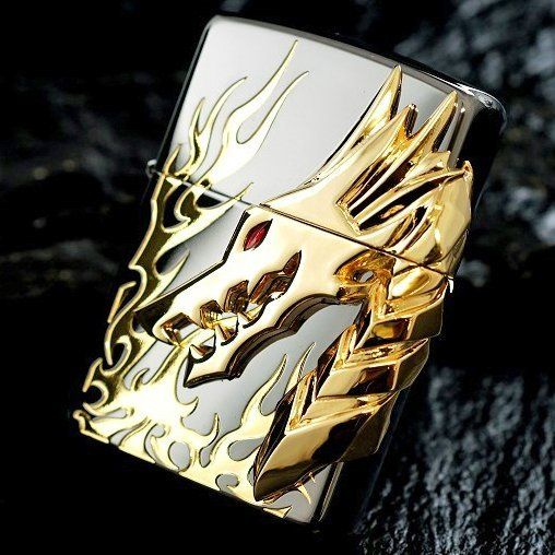 (212) Fancy - Japanese Black Ice Tribal Dragon Flame Zippo Lighter