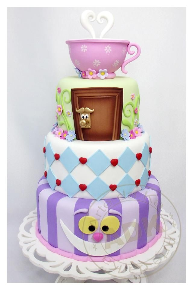 Alice In Wonderland Cake.. Wedding cake idea... steam could form letter of new last name