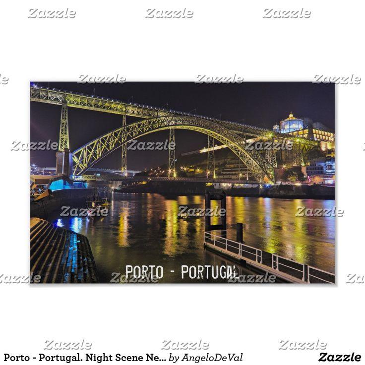 Porto - Portugal. Night Scene Near Douro River Poster