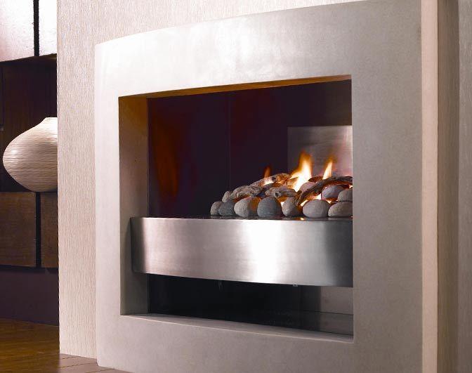 Mondrian - This minimalist gas fire, sits on a steel shelf set into a limestone frame.