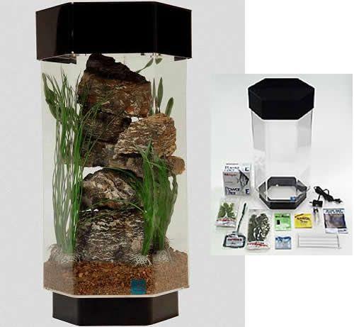 Seaclear 8 Gallon Hexagon Acrylic Aquarium Deluxe Kit 14x14x28 Hexagon Fish Tank Fish Tank