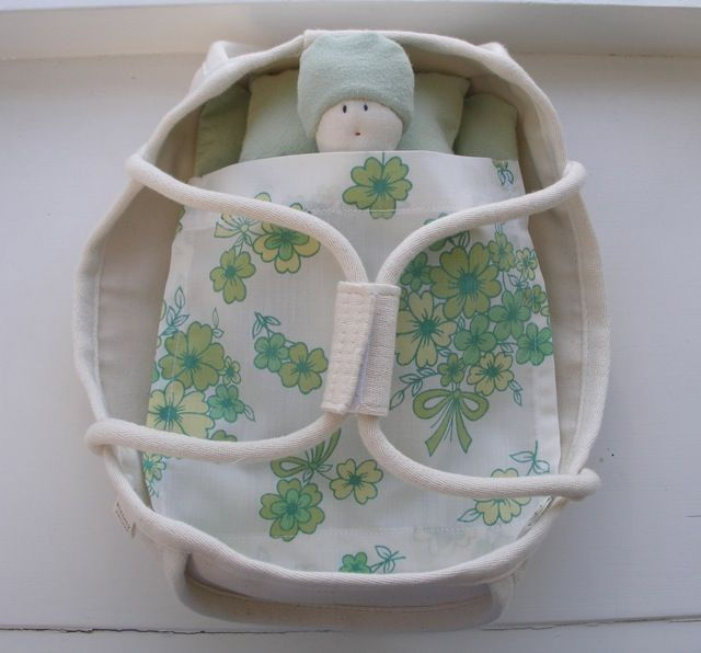 organic bamboo/cotton cloth doll with a canvas doll's bed and a retro sheet