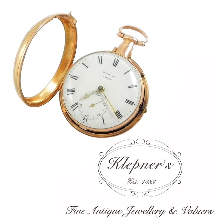 "18ct rose gold antique Georgian ""Pair Case"" key wound, pocket watch. Made by Brockbanks of London, circa 1801.    Visit us at www.klepners.com.au"