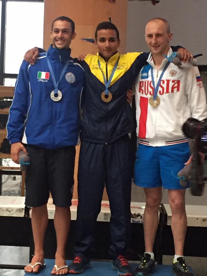Alexánder Jiménez, campeón mundial de Natación con Aletas en 6000 metros, el 28 de junio en Volos, Grecia.