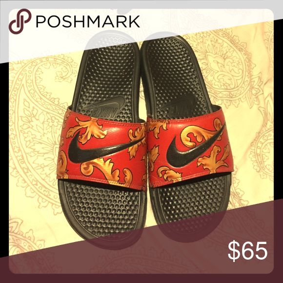 Custom red and gold Nike slides Custom red and gold Nike slides Nike Shoes Sandals & Flip-Flops