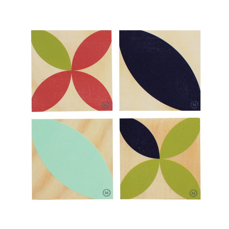 SUMMER TIME - SOUTHWARD BOUND These coasters in this bold and dynamic colour palette are a great addition to any coffee table!  See our website for matching placemats also. Dimensions per Coaster: 100mm (w) x 100mm (h)  x 9mm (d) $30 Set of 4 / $40 Set of 6