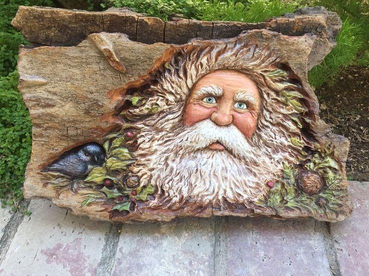 WOOD Carved Big RUSTIC SANTA Woodland Santa w bird Lisa Rogers ORIGINAL Carving
