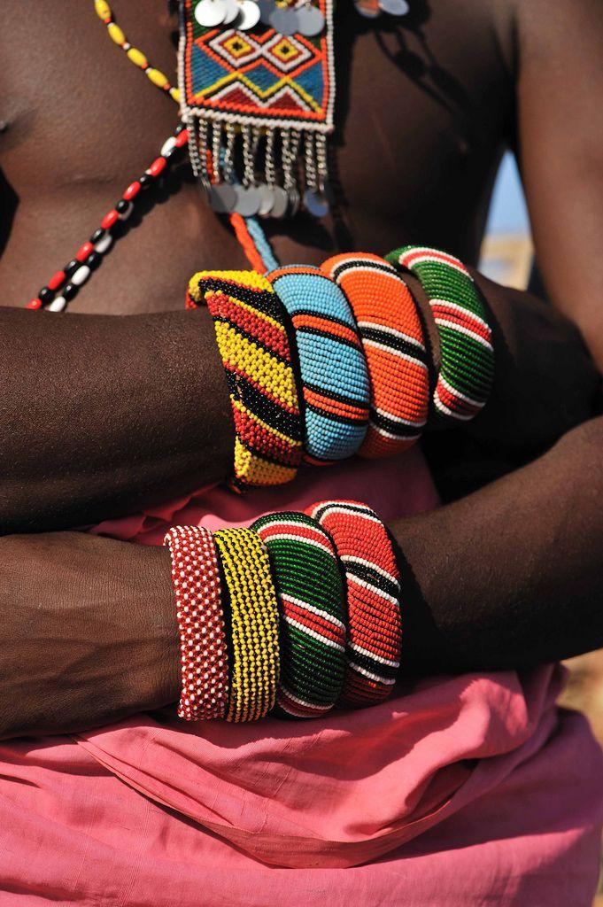 "Africa | ""Samburu Warrior"" bracelets.  Kenya | ©Christophe Cerisier"