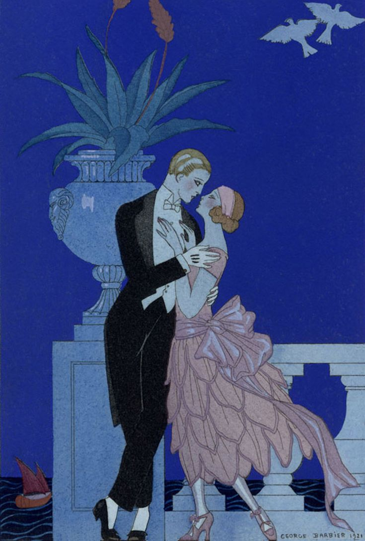 George Barbier, Oui! (Yes!), Two young fiances in evening dress, lithograph from Falbalas et Fanfreluches, Almanach des Modes Presentes, Passees et Futures, 1922.
