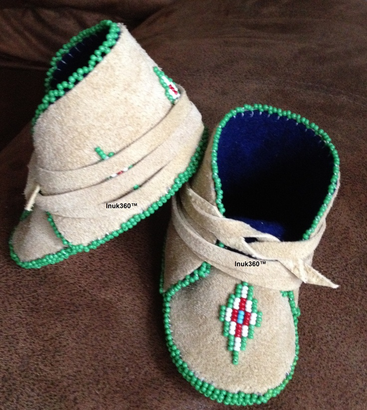 Baby's First Couture Mocs: #BabysFirstCoutureMocs #BFCN Baby Girl Mocassins These ones are sold, however, you can place an order for your own pair(s) Made with: Leather, stroud or fleece liners, and seed bead detailings. Each pair is one of a kind. #Inuk360