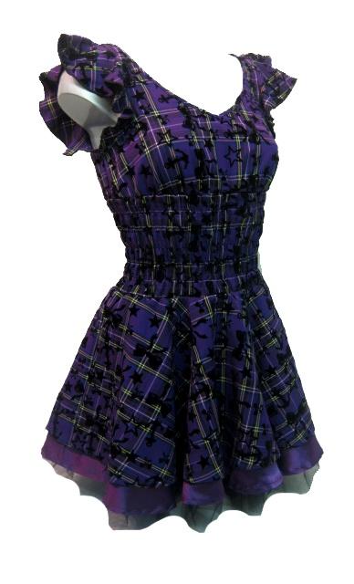 Soo Cute! H R London Tartan Dress Purple   Gothic Clothing   Emo clothing   Alternative clothing   Punk clothing - Chaotic Clothing