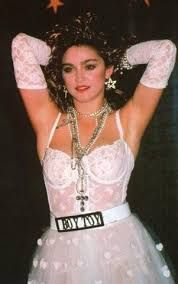 """Madonna's """"Like a Virgin"""" look with Boy Toy belt"""